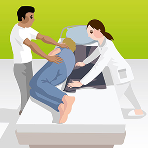 Umlagerung mit Hilfe einer Gleitmatte durch 2Pflegekräfte_Bild2