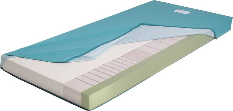 Standardmatratze mit halbabgedecktem Schutzbezug, sodass der Aufbau der Matratze sichtbar wird