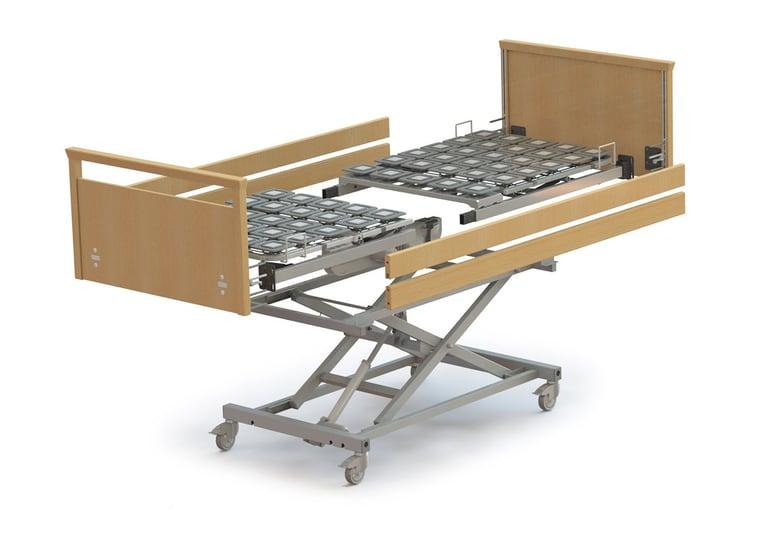 Höhenverstellbares Pflegebett Modell movita 2-d auf Rollen ohne Matratze.