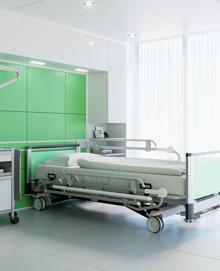 Bariatrisches Universalklinikbett mit Niedrigposition für schwergewichtige Patienten. Dekore in der Farbe Kiwi